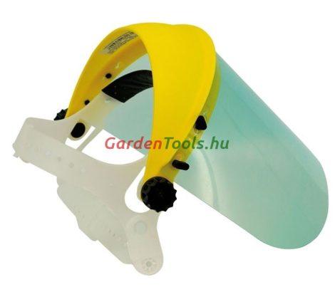 Arcvédő, fejpánt plexiálarc védőeszköz láncfűrészhez, fűkaszához