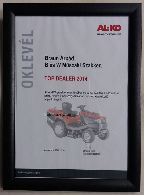 2014 év AL-KO Top Dealer