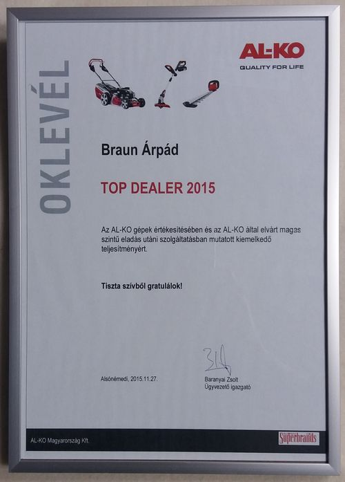 2015 év AL-KO Top Dealer